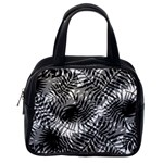 Tropical leafs pattern, black and white jungle theme Classic Handbag (One Side)