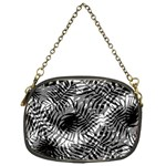 Tropical leafs pattern, black and white jungle theme Chain Purse (One Side)