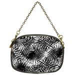 Tropical leafs pattern, black and white jungle theme Chain Purse (Two Sides)