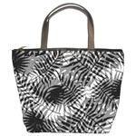 Tropical leafs pattern, black and white jungle theme Bucket Bag