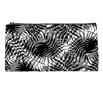 Tropical leafs pattern, black and white jungle theme Pencil Case