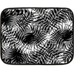 Tropical leafs pattern, black and white jungle theme Double Sided Fleece Blanket (Mini)