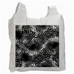 Tropical leafs pattern, black and white jungle theme Recycle Bag (Two Side)