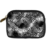 Tropical leafs pattern, black and white jungle theme Digital Camera Leather Case
