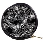 Tropical leafs pattern, black and white jungle theme Mini Makeup Bag