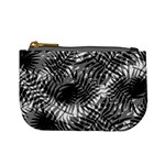 Tropical leafs pattern, black and white jungle theme Mini Coin Purse