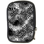 Tropical leafs pattern, black and white jungle theme Compact Camera Leather Case