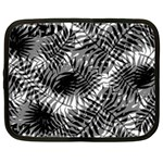 Tropical leafs pattern, black and white jungle theme Netbook Case (XXL)