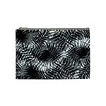 Tropical leafs pattern, black and white jungle theme Cosmetic Bag (Medium)