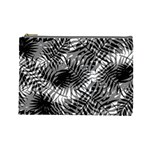 Tropical leafs pattern, black and white jungle theme Cosmetic Bag (Large)