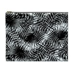 Tropical leafs pattern, black and white jungle theme Cosmetic Bag (XL)