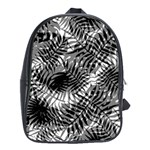 Tropical leafs pattern, black and white jungle theme School Bag (Large)