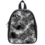 Tropical leafs pattern, black and white jungle theme School Bag (Small)
