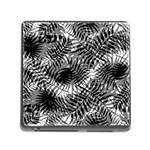 Tropical leafs pattern, black and white jungle theme Memory Card Reader (Square 5 Slot)