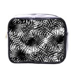 Tropical leafs pattern, black and white jungle theme Mini Toiletries Bag (One Side)