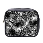 Tropical leafs pattern, black and white jungle theme Mini Toiletries Bag (Two Sides)