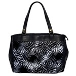 Tropical leafs pattern, black and white jungle theme Oversize Office Handbag