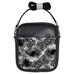 Tropical leafs pattern, black and white jungle theme Girls Sling Bag