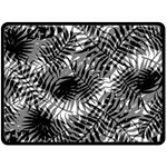 Tropical leafs pattern, black and white jungle theme Fleece Blanket (Large)