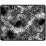 Tropical leafs pattern, black and white jungle theme Fleece Blanket (Medium)
