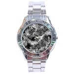 Tropical leafs pattern, black and white jungle theme Stainless Steel Analogue Watch
