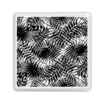 Tropical leafs pattern, black and white jungle theme Memory Card Reader (Square)