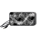 Tropical leafs pattern, black and white jungle theme Portable Speaker