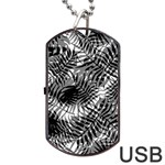 Tropical leafs pattern, black and white jungle theme Dog Tag USB Flash (Two Sides)