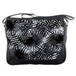 Tropical leafs pattern, black and white jungle theme Messenger Bag