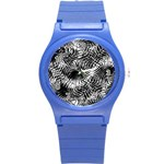 Tropical leafs pattern, black and white jungle theme Round Plastic Sport Watch (S)