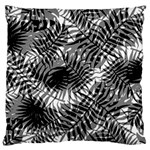 Tropical leafs pattern, black and white jungle theme Large Cushion Case (Two Sides)