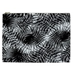 Tropical leafs pattern, black and white jungle theme Cosmetic Bag (XXL)