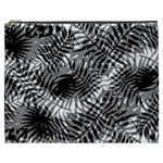 Tropical leafs pattern, black and white jungle theme Cosmetic Bag (XXXL)