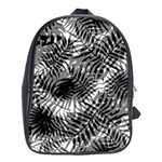 Tropical leafs pattern, black and white jungle theme School Bag (XL)