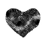Tropical leafs pattern, black and white jungle theme Standard 16  Premium Heart Shape Cushions