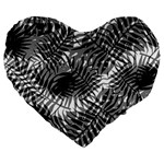 Tropical leafs pattern, black and white jungle theme Large 19  Premium Heart Shape Cushions
