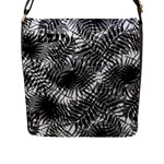 Tropical leafs pattern, black and white jungle theme Flap Closure Messenger Bag (L)