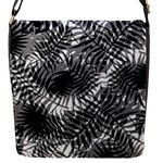Tropical leafs pattern, black and white jungle theme Flap Closure Messenger Bag (S)