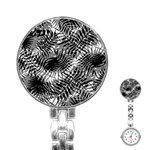 Tropical leafs pattern, black and white jungle theme Stainless Steel Nurses Watch