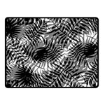 Tropical leafs pattern, black and white jungle theme Double Sided Fleece Blanket (Small)
