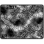 Tropical leafs pattern, black and white jungle theme Double Sided Fleece Blanket (Medium)