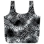 Tropical leafs pattern, black and white jungle theme Full Print Recycle Bag (XL)