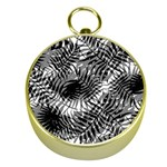 Tropical leafs pattern, black and white jungle theme Gold Compasses