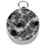 Tropical leafs pattern, black and white jungle theme Silver Compasses