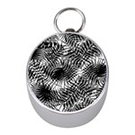 Tropical leafs pattern, black and white jungle theme Mini Silver Compasses