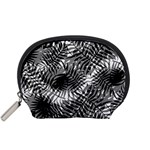 Tropical leafs pattern, black and white jungle theme Accessory Pouch (Small)