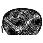 Tropical leafs pattern, black and white jungle theme Accessory Pouch (Large)