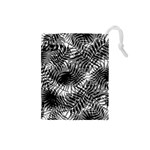 Tropical leafs pattern, black and white jungle theme Drawstring Pouch (Small)