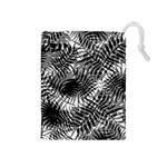 Tropical leafs pattern, black and white jungle theme Drawstring Pouch (Medium)