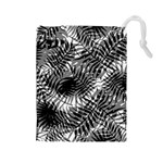 Tropical leafs pattern, black and white jungle theme Drawstring Pouch (Large)